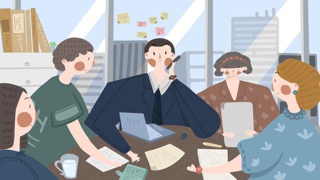 オフィスで会議の人々のグループ イラスト素材