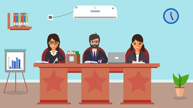 元の営業所会議キャラクターシーンフラットスタイルの図 イラスト素材 イラスト画像