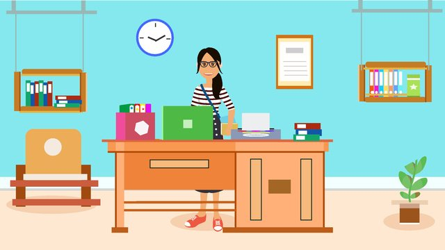 original office furnishings character scene flat style vector illustration llustration image