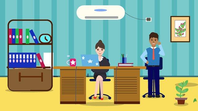 original woman office scene flat style illustration llustration image