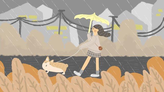 雨の中犬を歩く少女 イラスト素材 イラスト画像