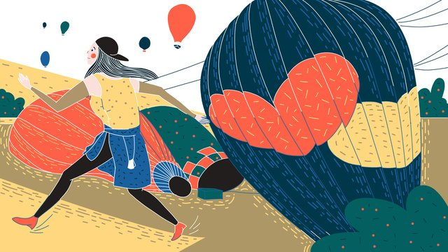 トルコの熱気球イラストのオリジナルレトロテクスチャ旅行祭り イラスト素材 イラスト画像