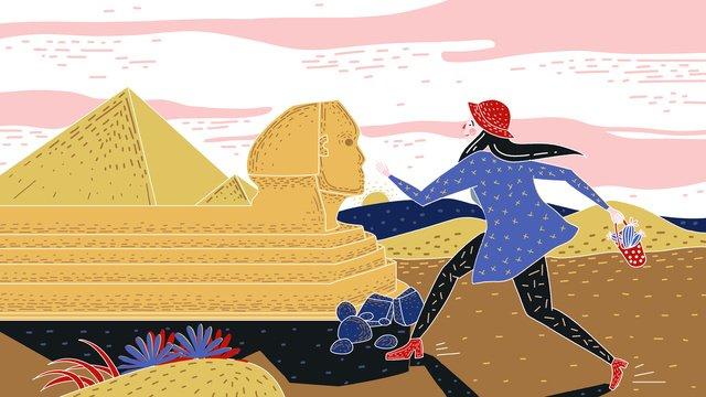 オリジナルのレトロな質感の世界旅行日エジプトスフィンクスの図 イラスト素材 イラスト画像