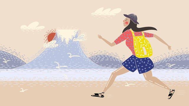 オリジナルレトロテクスチャ世界旅行日日本富士山イラストレーター イラスト素材 イラスト画像