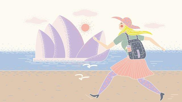 원래 빈티지 질감 세계 여행의 날 시드니 오페라 하우스 소녀 일러스트 레이션 삽화 소재 삽화 이미지