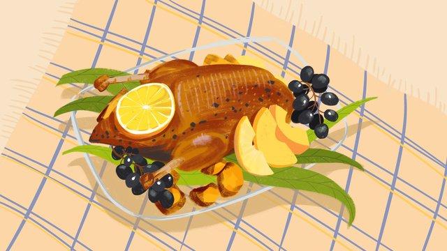 Original roast duck delicious food illustration, Original, Roast Duck, Delicious illustration image