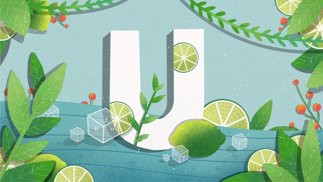 Original small fresh illustration letter 邂逅 lime u llustration image