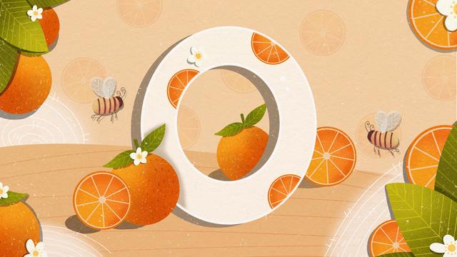 Original small fresh illustration letter 邂逅 o orange llustration image