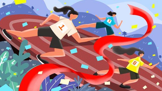 Cuộc thi chạy trườngBản  Gốc  Cuộc PNG Và PSD illustration image