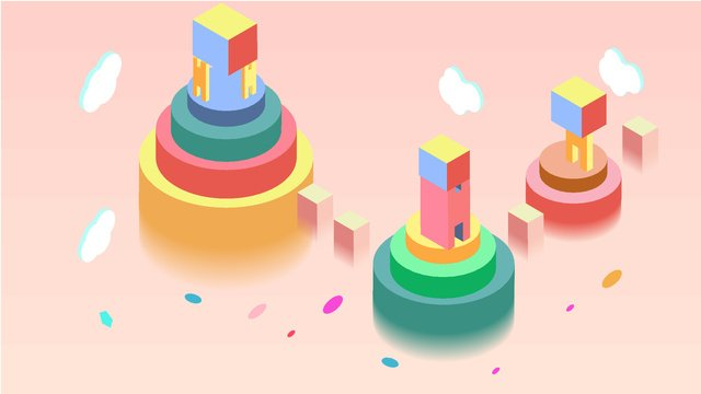 원래 기술 미래 25d 다채로운 성 벡터 일러스트 레이션 그림 이미지