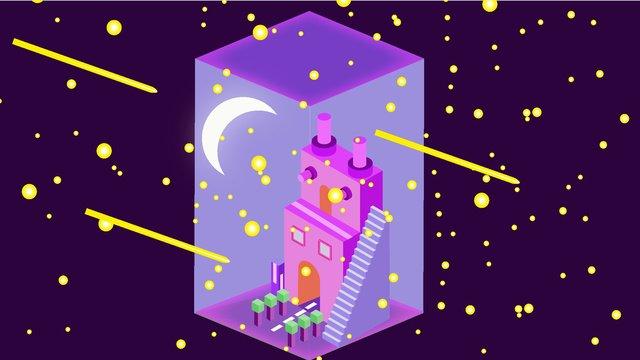 เทคโนโลยีดั้งเดิมอนาคต 25d night starry sky vector illustration ภาพ
