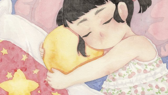 mudah dan segar hello good night dream girl scene illustration imej keterlaluan