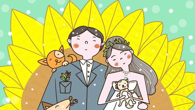 Simple and fresh couple wedding invitation llustration image illustration image