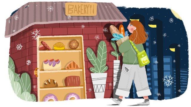 winter hello night girl buying bread llustration image illustration image