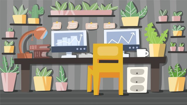 Green office in the workplace llustration image illustration image