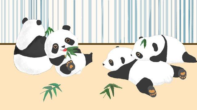 Panda fofo de estimaçãoPanda  Bambu  Animal PNG E PSD illustration image