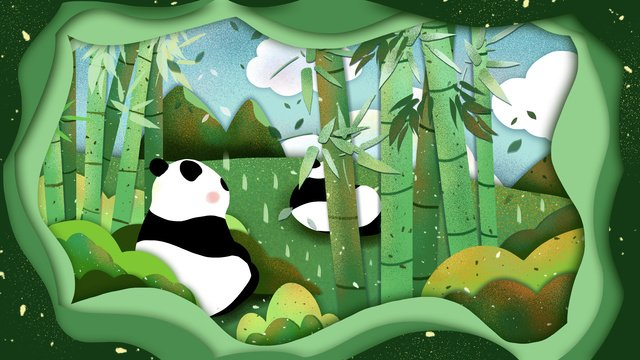 Cute panda original illustration, Panda, Giant Panda, Lovely illustration image