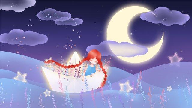 紙の船に乗っている女の子は美しくて新鮮で通気性があります イラストレーション画像 イラスト画像