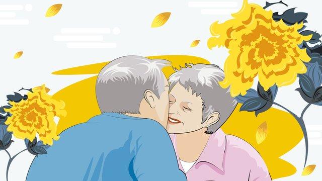 double ninth festival에서 부모를위한 가장 중요한 사랑 삽화 소재
