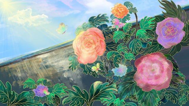 太陽の下で牡丹の花の水彩画のイラスト イラストレーション画像