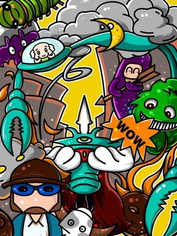 graffiti modern pet fight Material de ilustração