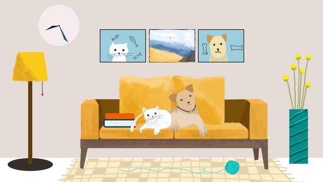 Мэн домашнее животное ударил домашнюю собаку и Ресурсы иллюстрации Иллюстрация изображения
