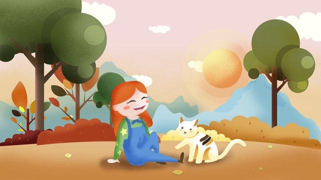 暖かい黄金の秋の女の子とかわいいペットパーク遊び心のあるイラスト イラスト素材