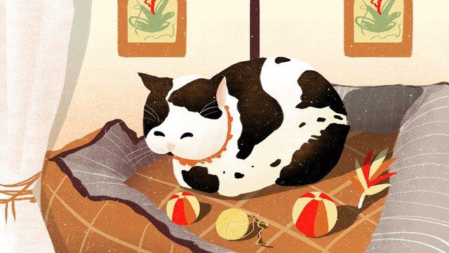 ペット猫かわいい家の動物イラスト イラスト素材 イラスト画像