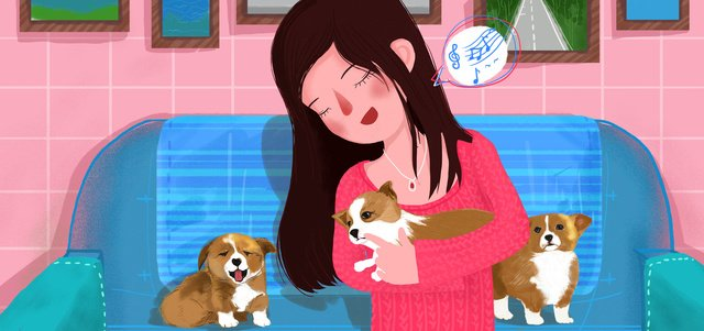 Pet keji dog cute family meng illustration flat realistic small fresh, Pet, Keji Dog, Lovely illustration image
