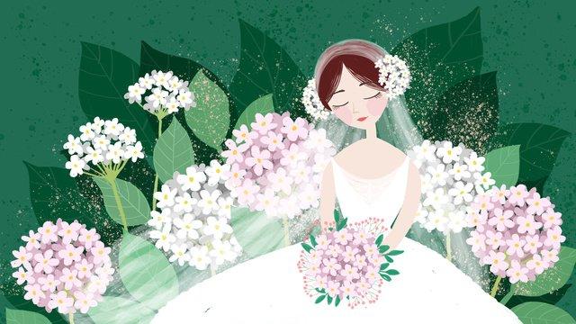 結婚式の季節の小さな新鮮なアジサイのブーケの花嫁 イラスト素材 イラスト画像