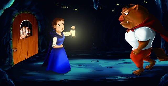 Cute cartoon girl with beast illustration, Picture Book, Fairy Tale, Cartoon illustration image