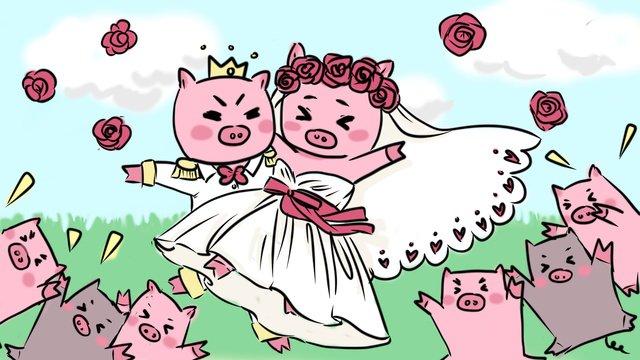 ภาพประกอบงานแต่งงานของ pig 2หมู  งานแต่งงาน  ออกเรือน PNG และ PSD illustration image