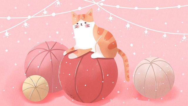 Ilustração de animal estimação fofo rosa gato laranja e bolaPink  Cat  Meng PNG E PSD illustration image