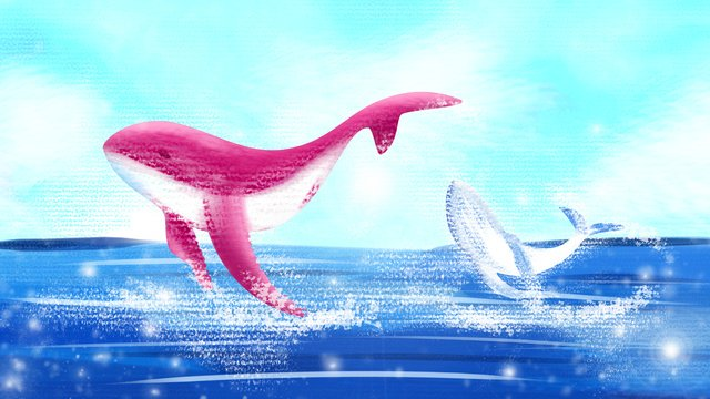 Sea and whale jumping illustration, Pink, Decorative Paintings, Ocean illustration image