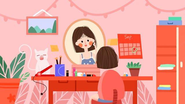 pink girls daily makeup llustration image illustration image