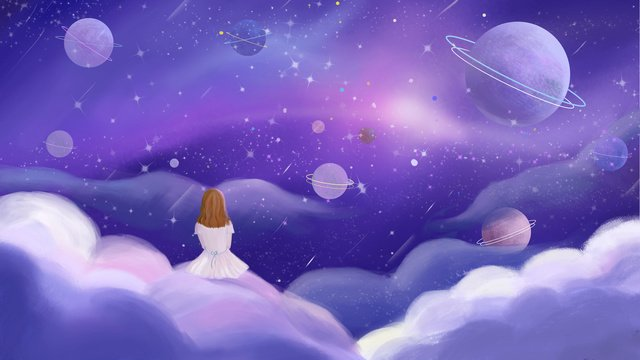 the story of distant planet and girl in universe llustration image illustration image