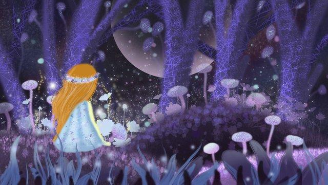 植物イラストの森の中の少女植物  森  草 PNGおよびPSD illustration image