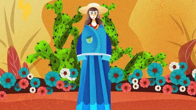 少女サボテンの植物の花と植物の組み合わせイラスト イラストレーション画像 イラスト画像