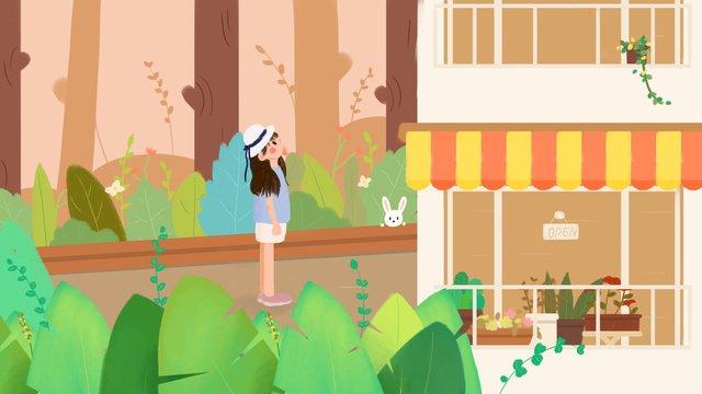 旅行街コーナーフラワーショップ植物シリーズイラスト イラスト素材 イラスト画像