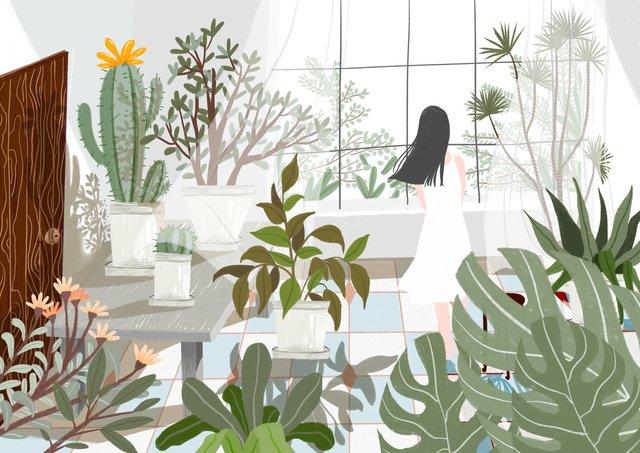 新鮮な女の子の緑の植物 イラスト素材 イラスト画像