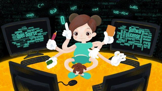 10 24 프로그래머의 날 it hand painted original illustration 포스터 삽화 소재 삽화 이미지