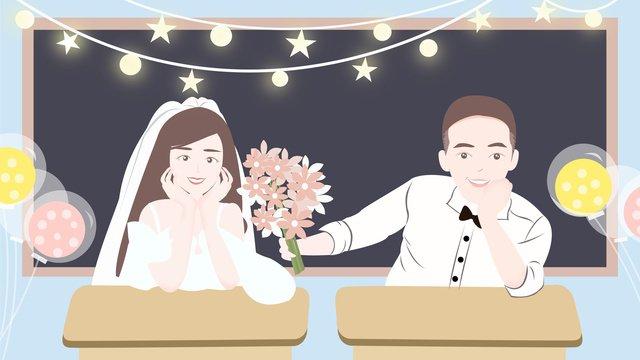 キャンパスロマンチックカップル提案シーン原画 イラスト素材 イラスト画像