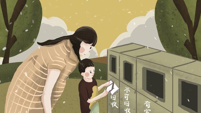 環境保護ママと子どもごみ分別図 イラスト素材