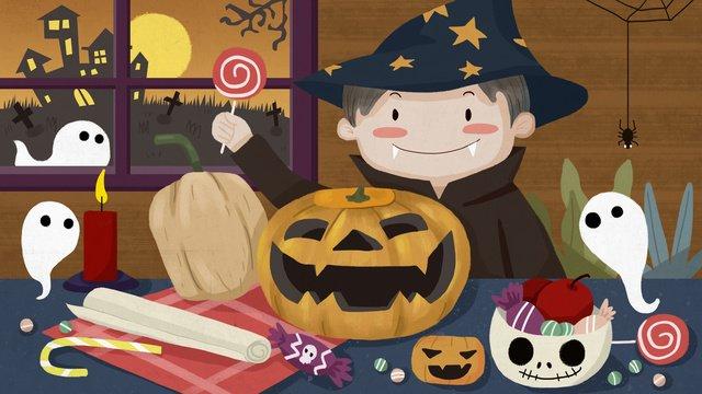 Dark halloween moonlight carnival pumpkin light candy ghost llustration image illustration image