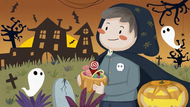 halloween carnival moon night kinh dị hoang dã lâu đài ma Hình minh họa