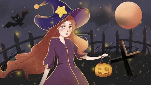 Halloween illustration witch and pumpkin lights, Pumpkin, Witch, Firefly illustration image