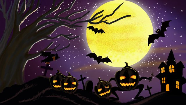 Purple clear halloween castle pumpkin light illustration llustration image illustration image