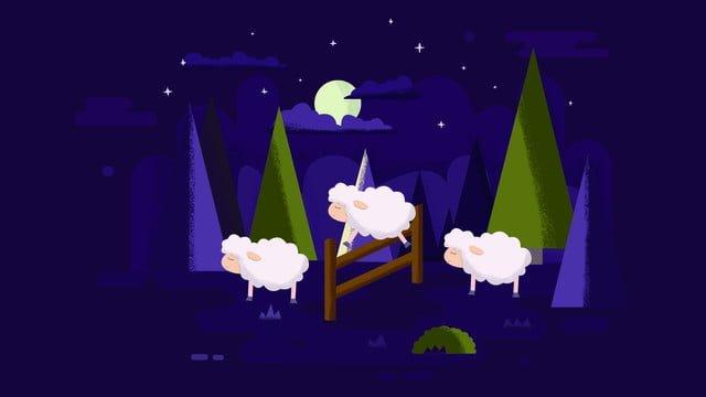 Good night hello purple scene sheep, Purple Scene, Flat, Counting Sheep illustration image