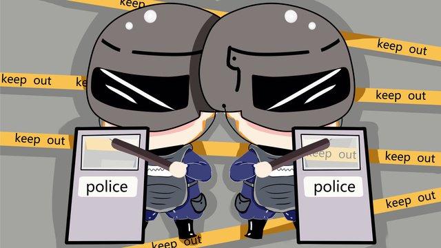 q版特警打擊犯罪 插畫素材 插畫圖片