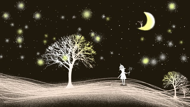 Good night hello little girl cure illustration, Quicksand, Simple, Nordic illustration image